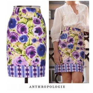 Anthropologie Baraschi Floral Plaid Skirt